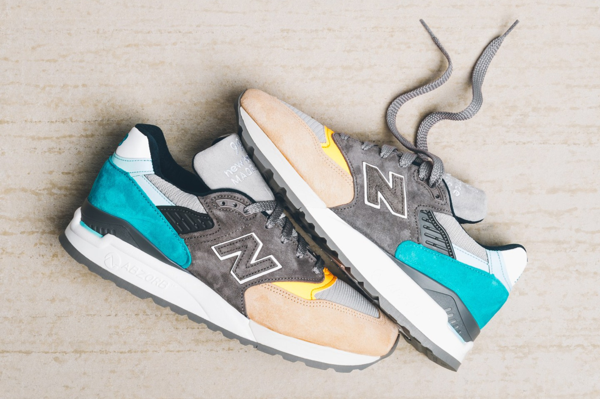 "New Balance M998AWB ""Made in the USA"" – Grey/Teal-Sand/Orange"