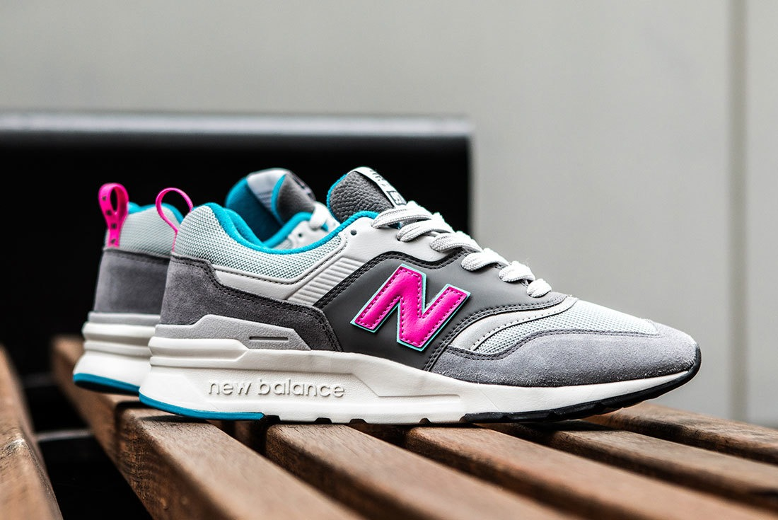 new balance 997 grey pink green