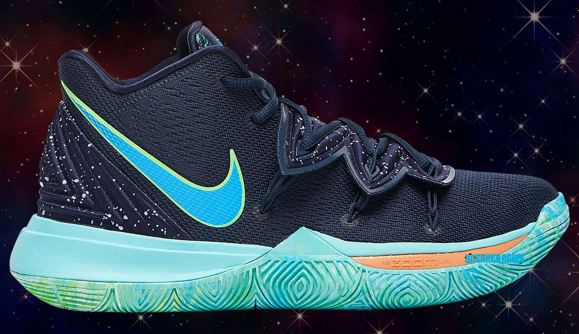 """reputable site bfe67 940ca Nike Basketball has dressed the latest KYRIE 5 colorway in a UFO theme. The  design is set in a celestial obsidian base with """"star"""" splatter detailing."""