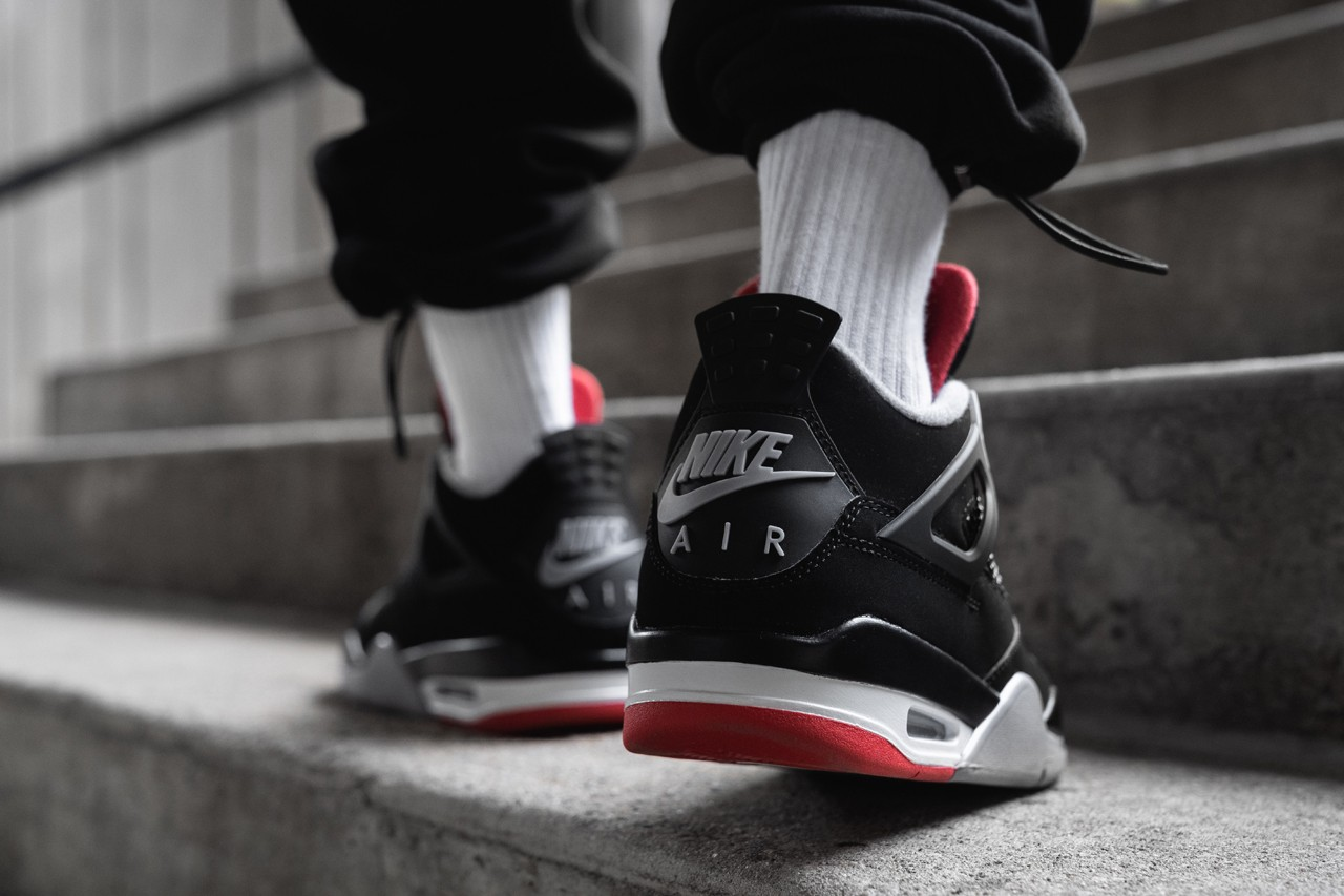 d882bdba0a0 Having just posted the official images of the upcoming Air Jordan 4 BRED  retro release, we get an off-foot look at the kicks.