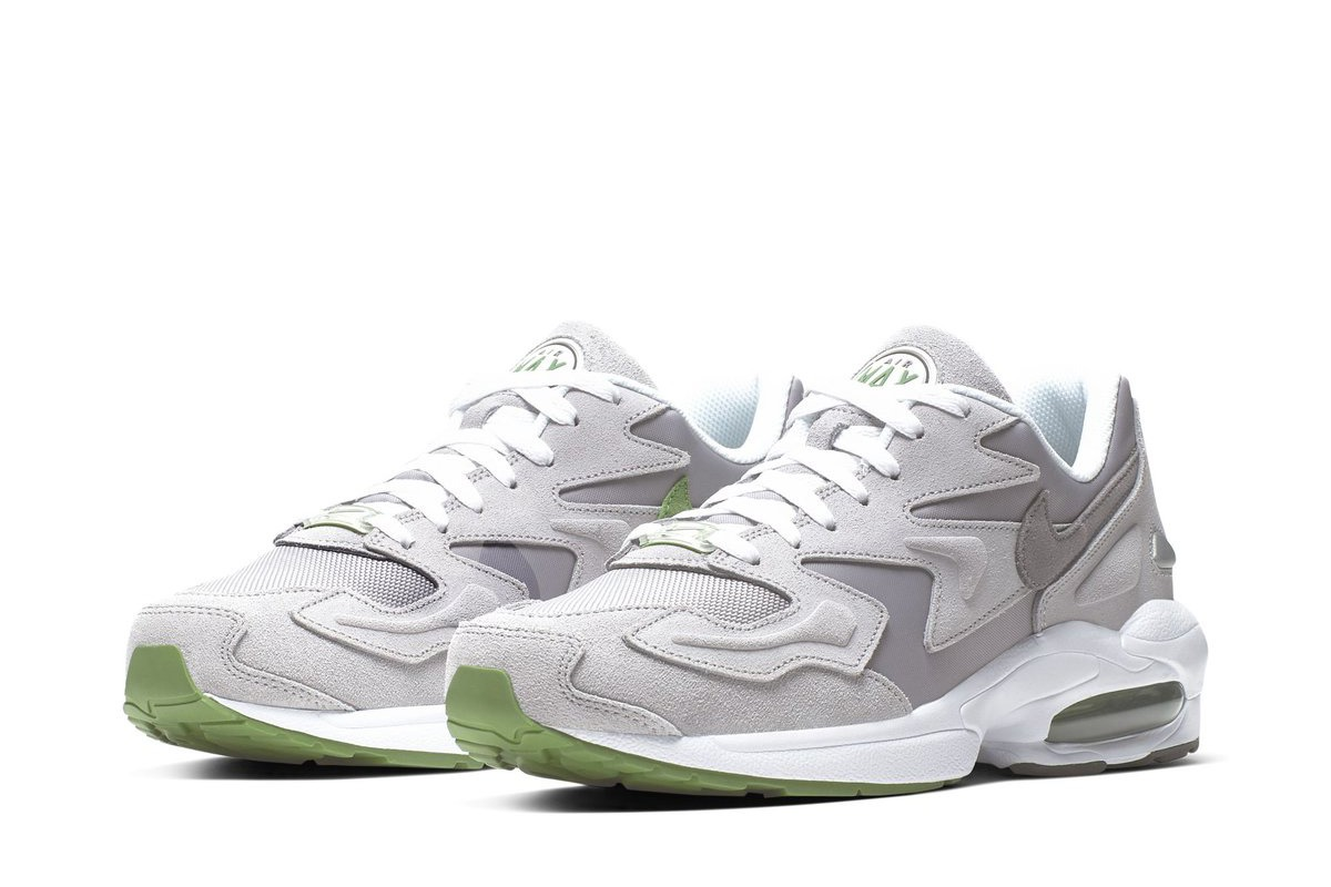 fac3d1d94a Here is a look at an upcoming Nike Air Max2 Light release. The drop is  formed in atmosphere grey and gunsmoke grey with chlorophyll green accents.